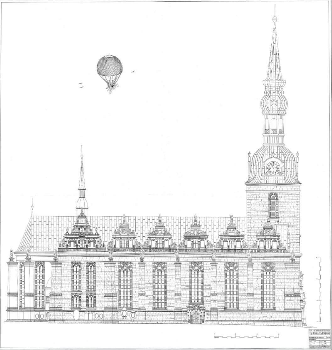 Zeichnung der Hauptkirche, Dipl.-Ing. Bernhard Brüggemann